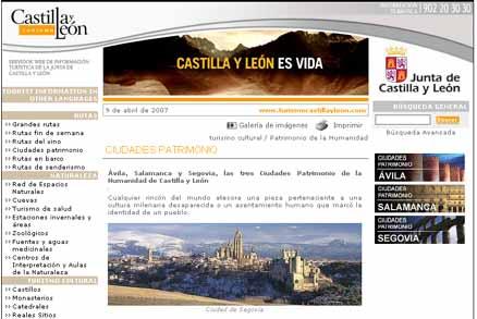 Exemplo de Divulgação do Património: Sitio on-line de Turismo da Junta de Castilla y León
