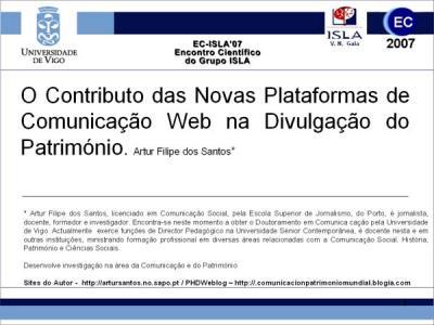 Comunicação de Artur Santos no II Encontro Científico do Grupo ISLA